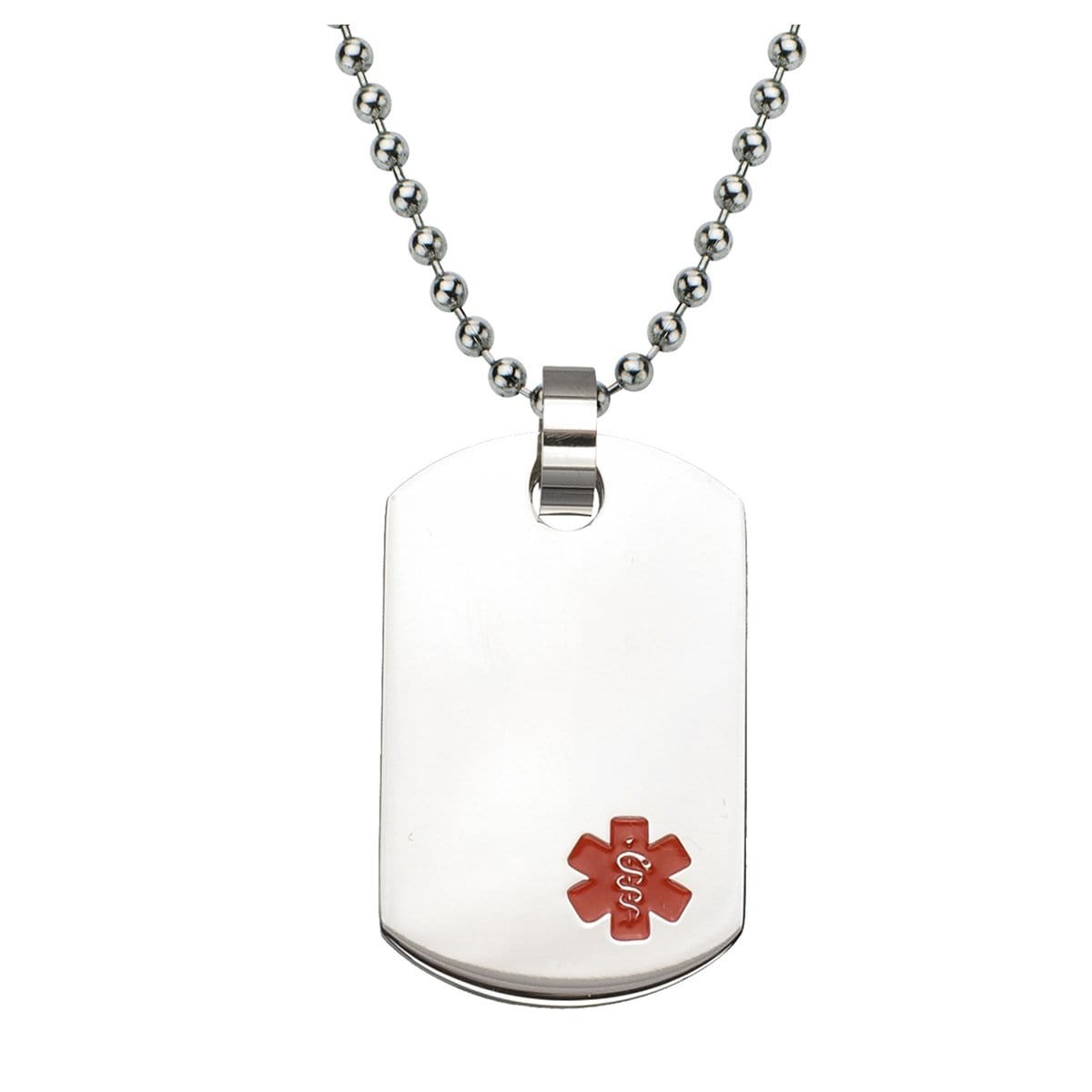 Red & Silver Stainless Steel Engravable Medical ID Tag Pendant & Chain