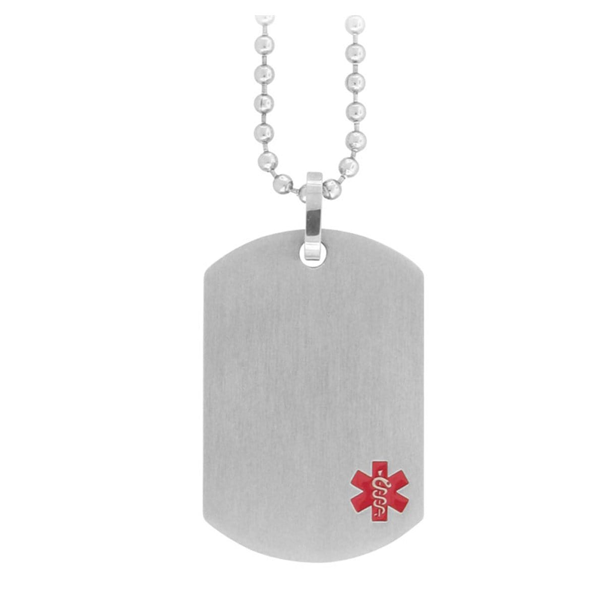 Red & Silver Stainless Steel Engraveable Medical ID Pendant & Chain
