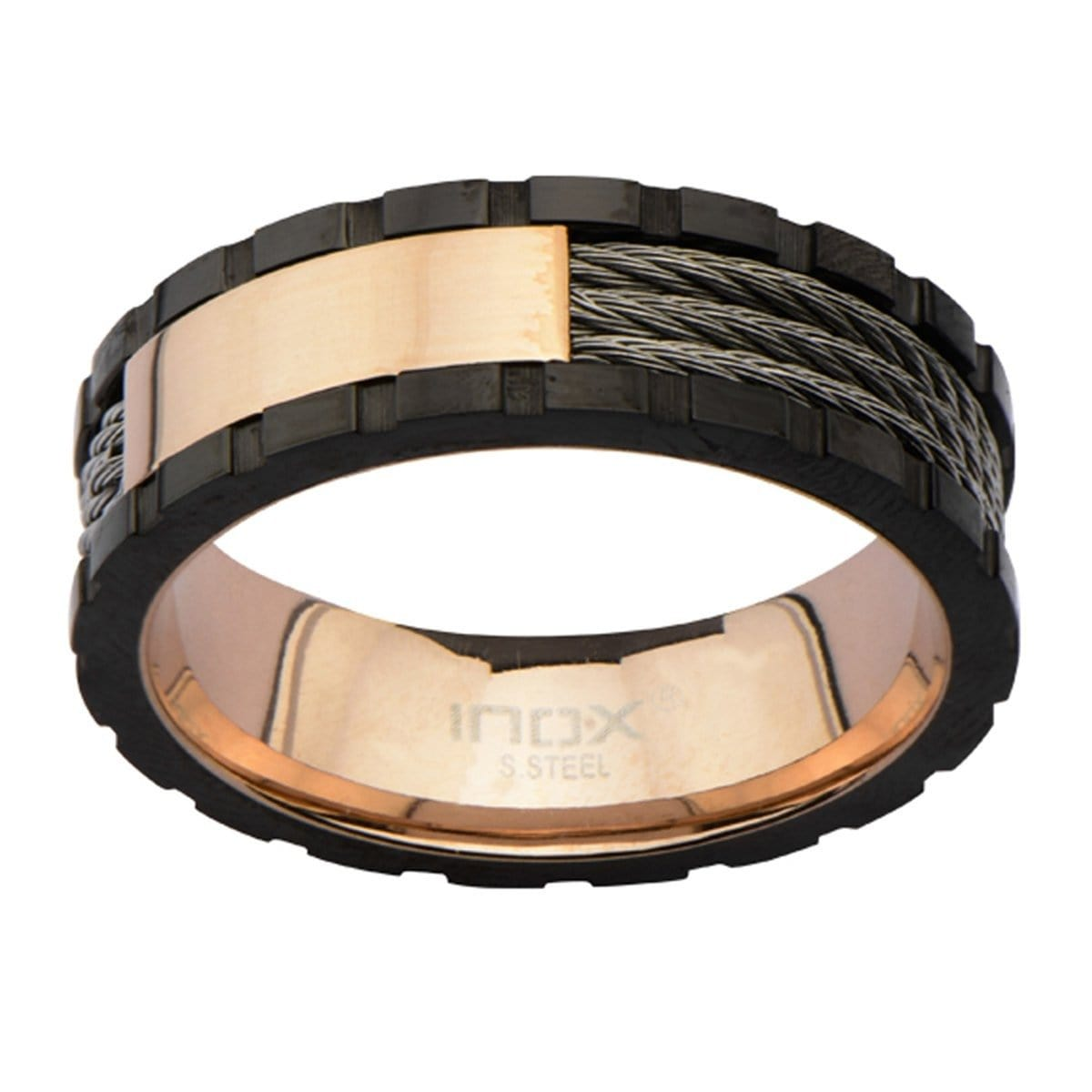 Rose Gold, Black, & Silver Stainless Steel Engraveable Cable Ring