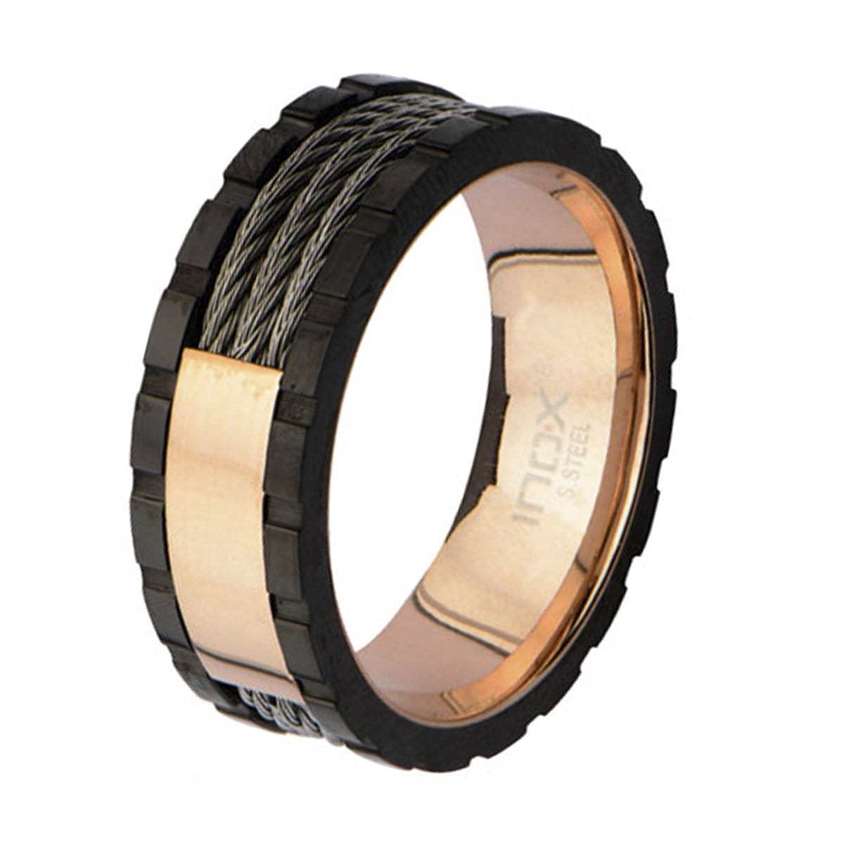 Rose Gold, Black, & Silver Stainless Steel Engraveable Cable Ring - Inox Jewelry India