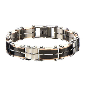 Rose Gold, Black & Silver Stainless Steel Reversible Bracelet Bracelets