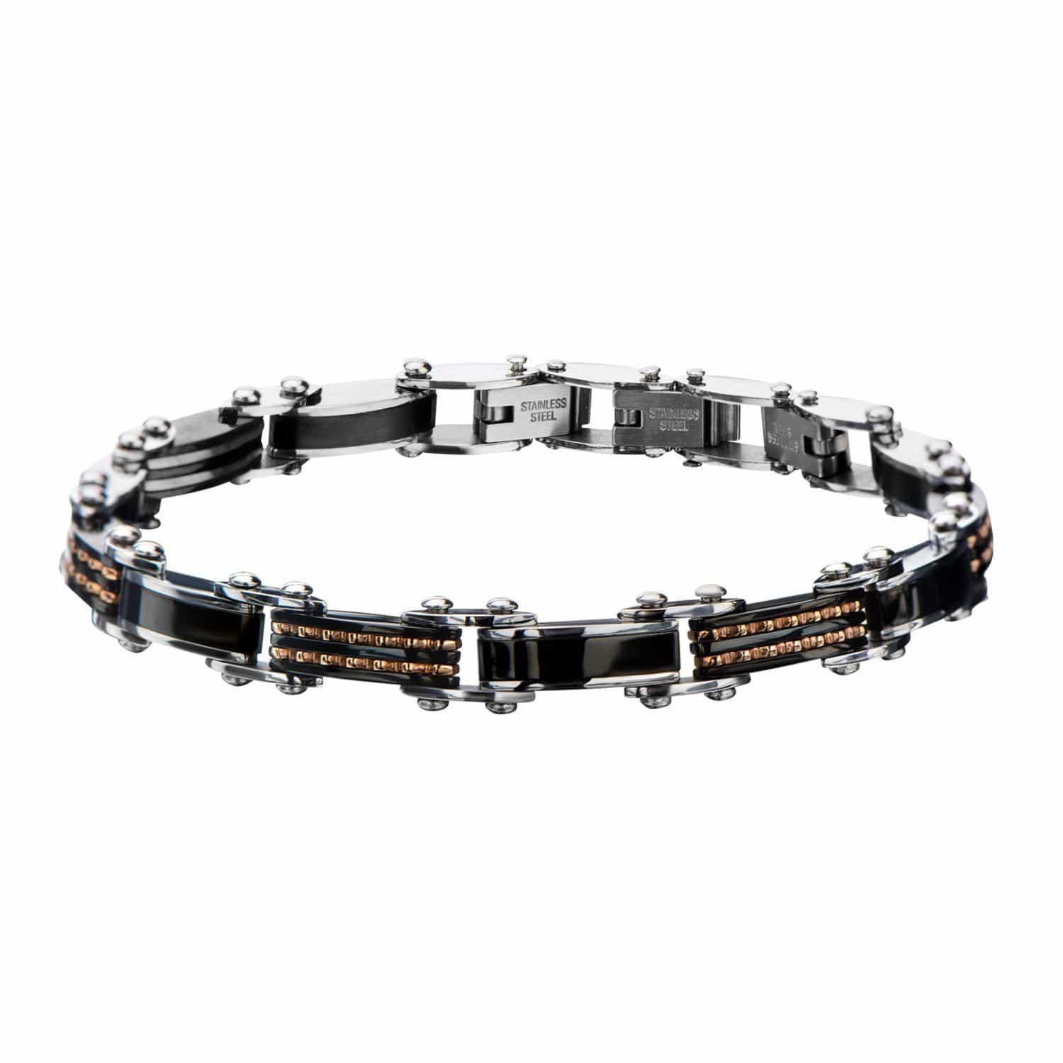 Rose Gold, Black & Silver Stainless Steel Reversible Stripe/Bead Bracelet - Inox Jewelry India