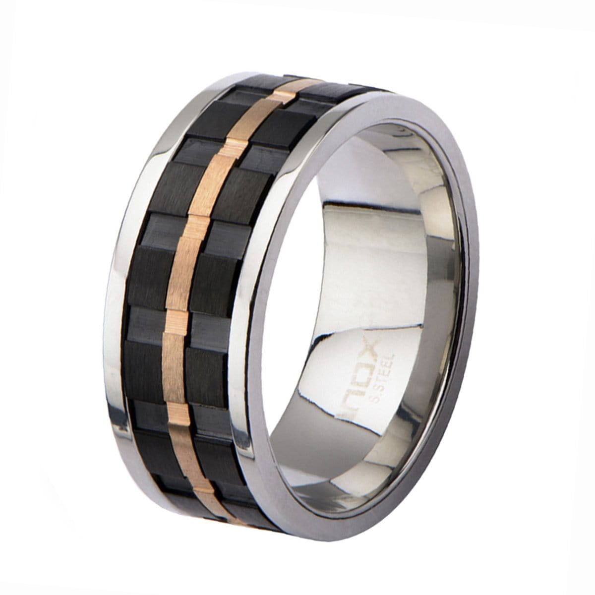Rose Gold, Black, & Silver Stainless Steel Ridged Stripe Spinner Ring - Inox Jewelry India