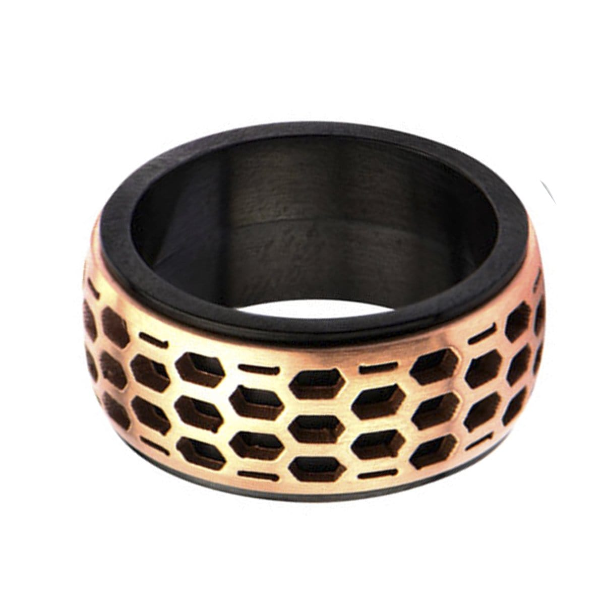 Rose Gold & Black Stainless Steel Car Grille Polished Band Ring