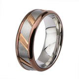 Rose Gold, Brown & Silver Stainless Steel Diagonal Slash Ring - Inox Jewelry India