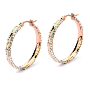 Rose Gold Stainless Steel 31mm Ferido Double-Side White Crystal Hoops Earrings