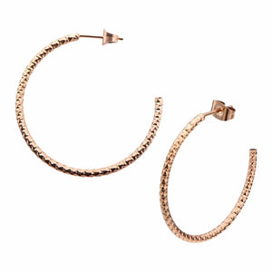 Rose Gold Stainless Steel 32mm Hammered Open Hoop Earrings Earrings