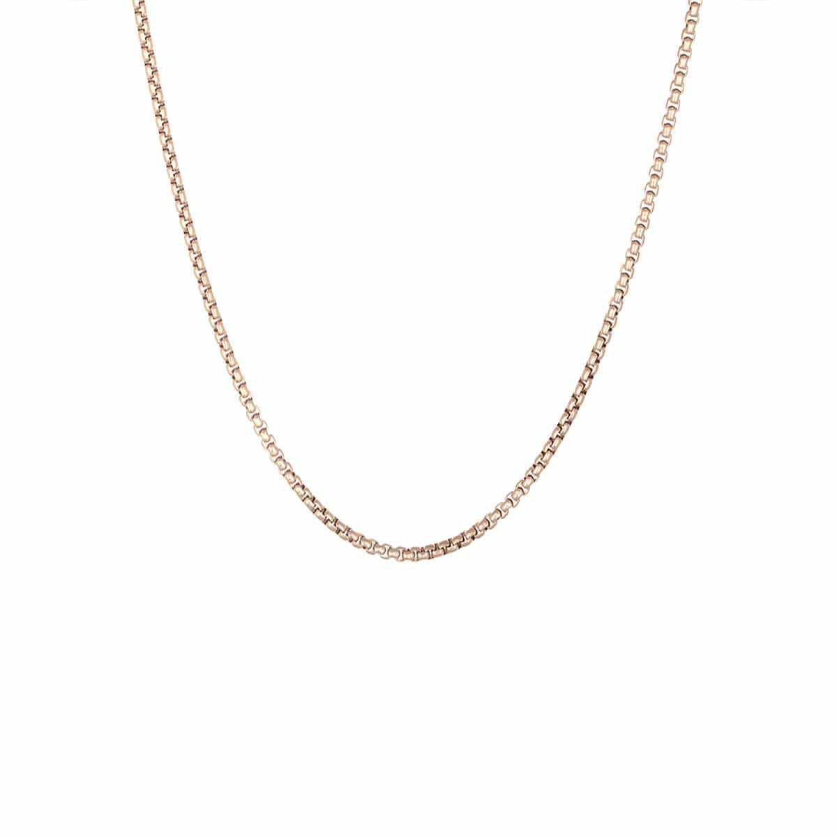 Rose Gold Stainless Steel 3mm Round Rolo Box Link Chain Chains
