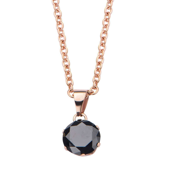 Rose Gold Stainless Steel 8mm Solitaire Black CZ Pendant Pendants