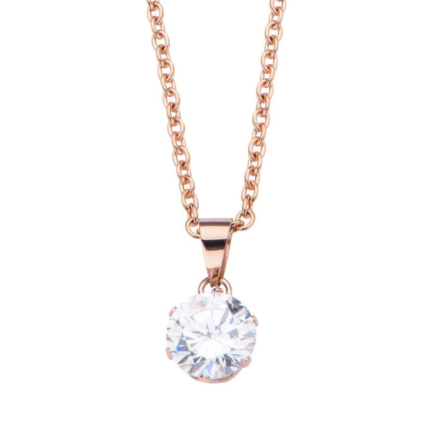 Rose Gold Stainless Steel 8mm Solitaire CZ Pendant Pendants