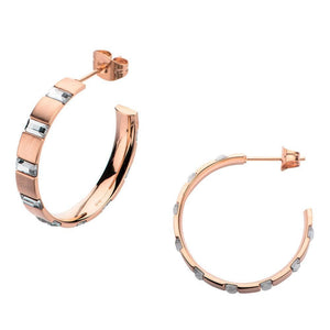 Rose Gold Stainless Steel Alternating Rectangle Crystal Hoops Earrings