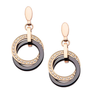 Rose Gold Stainless Steel & Black Ceramic Double Circle with CZ Detail Dangle Drop Earrings