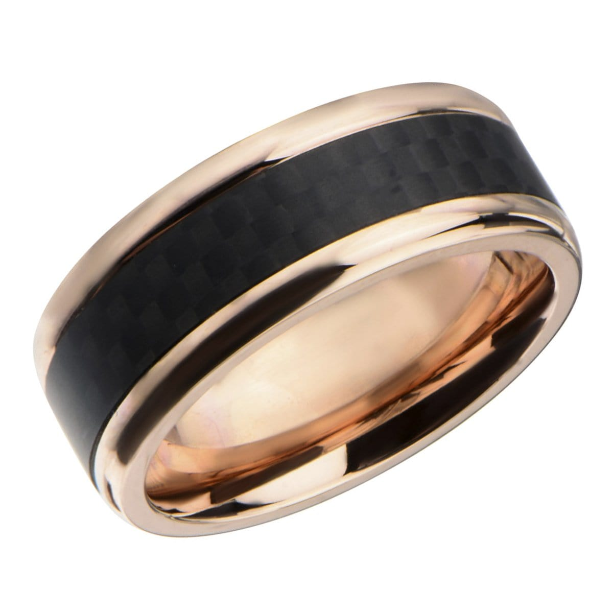 Rose Gold Stainless Steel Black Solid Carbon Fiber Band Rings