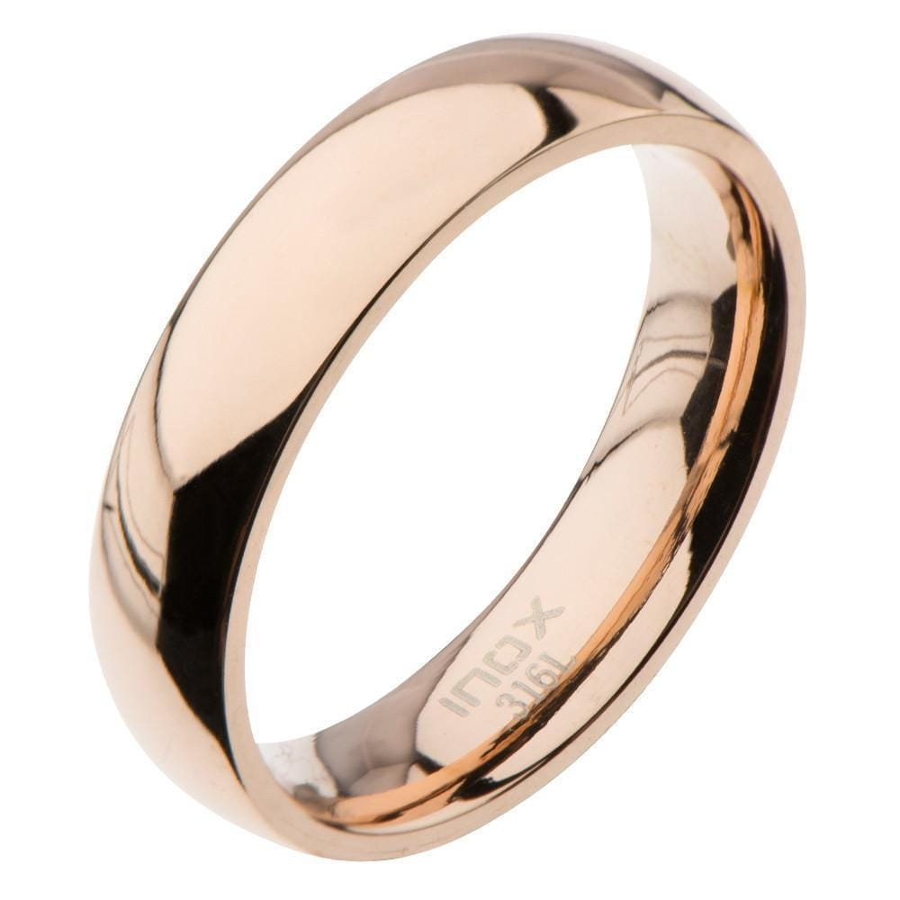 Rose Gold Stainless Steel Classic 5mm Glossy Band Rings