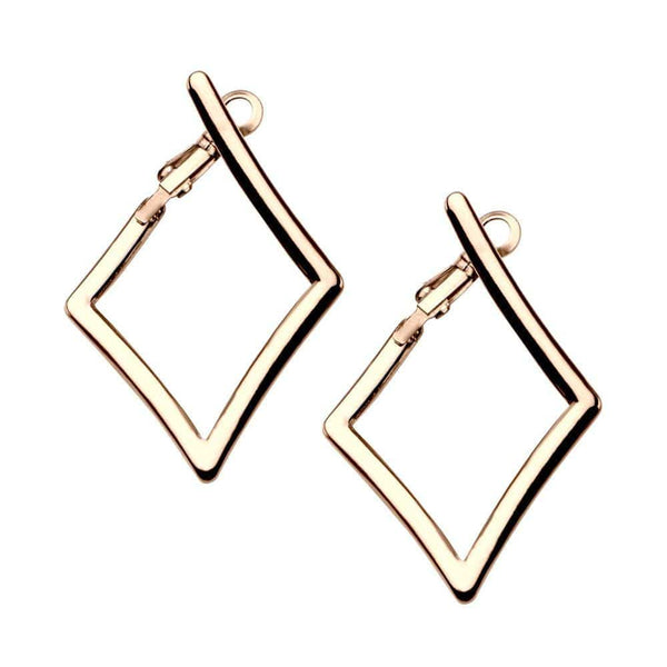 Rose Gold Stainless Steel Diamond Cut-Out Hoops Earrings