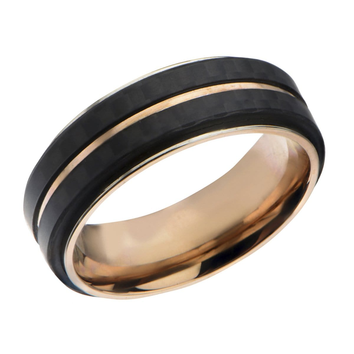 Rose Gold Stainless Steel Double Black Carbon Fiber Stripe Band Rings