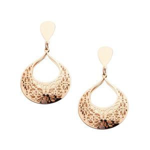 Rose Gold Stainless Steel Double-Filigree Intricate Cut-Out Earrings Earrings