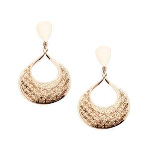 Rose Gold Stainless Steel Double-Filigree Leaf Earrings Earrings