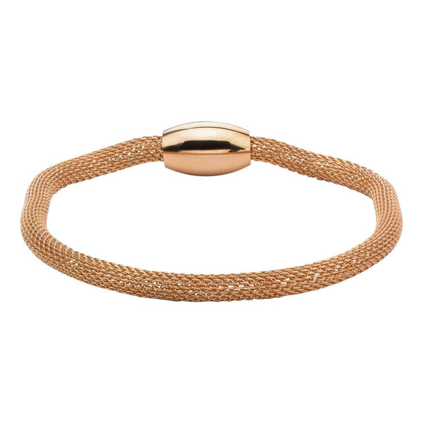 Rose Gold Stainless Steel Polished Mesh Bracelet with Magnetic Closure Bracelets