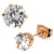 Rose Gold Stainless Steel Six Prong White CZ Solitaire Studs Earrings