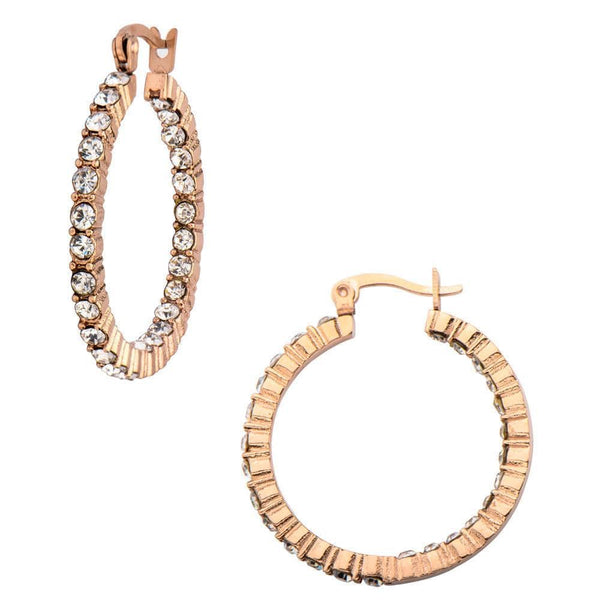 Rose Gold Stainless Steel & White CZ Alternate Eternity Hoops Earrings