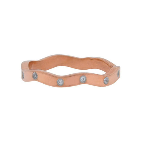 Rose Gold Stainless Steel with CZ All-Around Wave Band Ring Rings