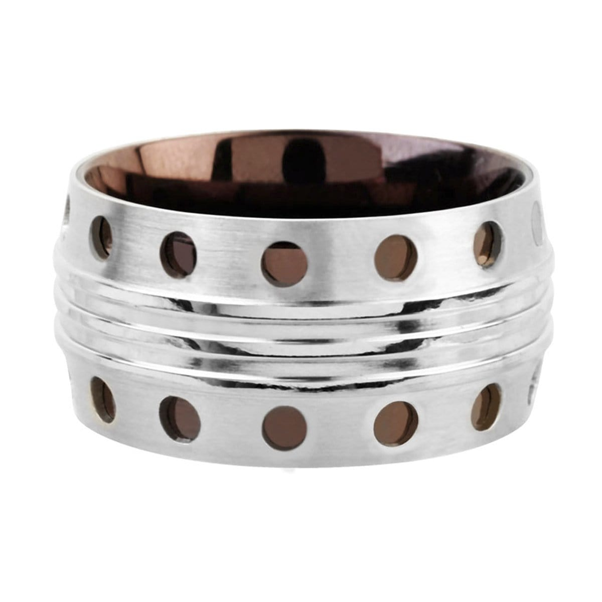 Silver and Cappuccino Stainless Steel Plated Dot Pattern Ring Rings