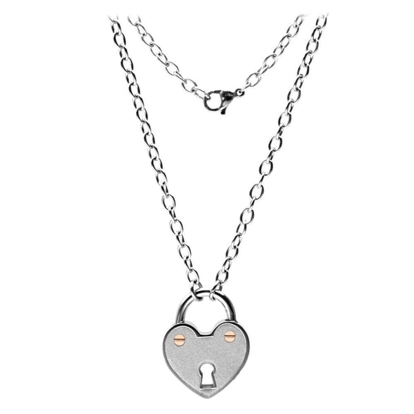 Silver and Rose Stainless Steel Heart Lock Necklace Chains