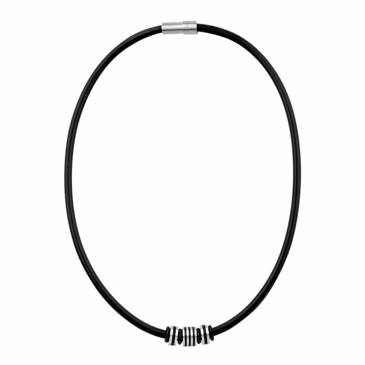 Silver & Black Stainless Steel Bead with Rubber Cable Chain Chains