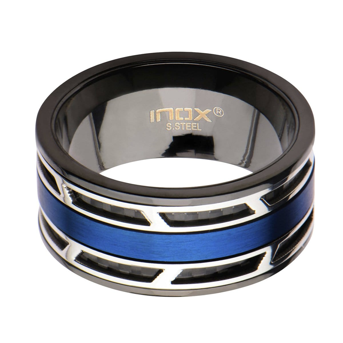 Silver, Blue & Black Stainless Steel with Inlaid Carbon Fiber Ring Rings