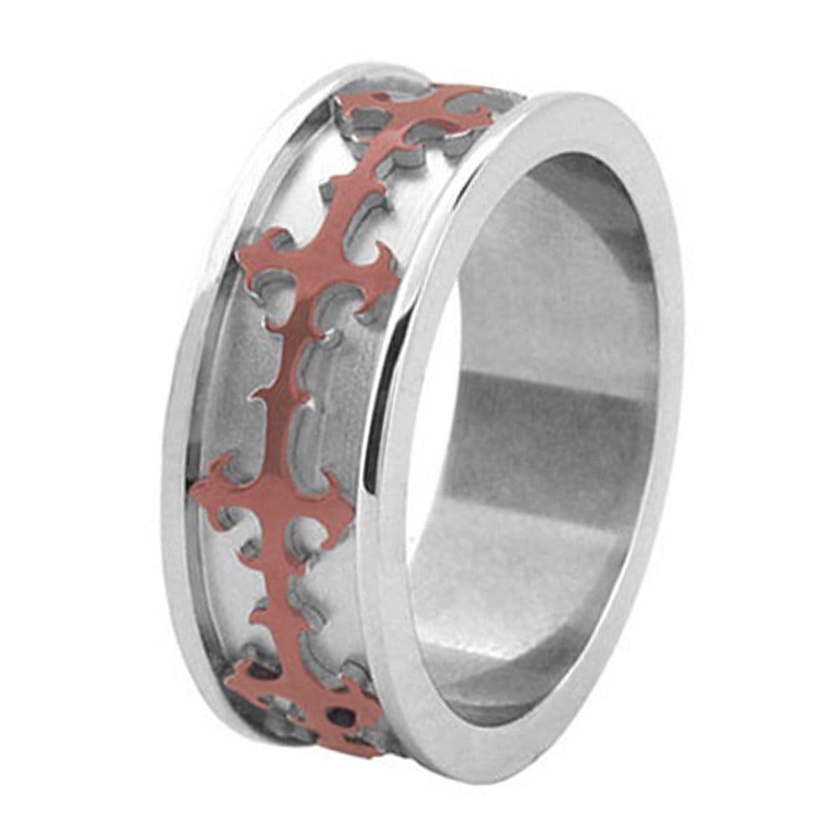 Silver & Cappuccino Stainless Steel Cross Design Ring Rings