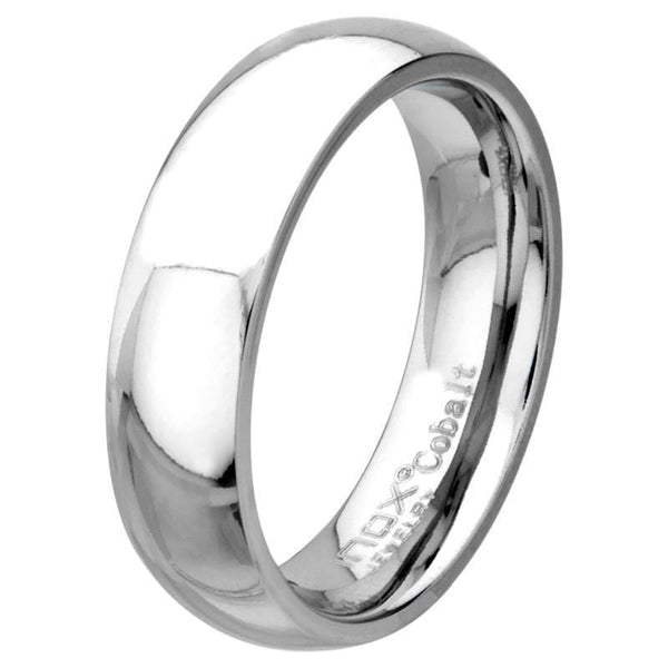Silver Cobalt Chrome High Polished Finish 6mm Wedding Band Rings