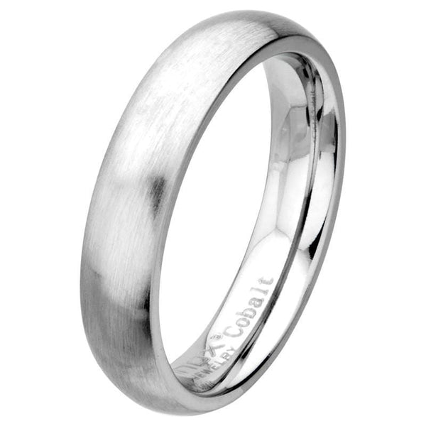 Silver Cobalt Chrome Matte Finish 5mm Wedding Band Rings