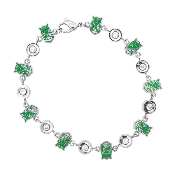Silver & Green Stainless Steel & CZ Detail Columbian Football Team Bracelet Bracelets