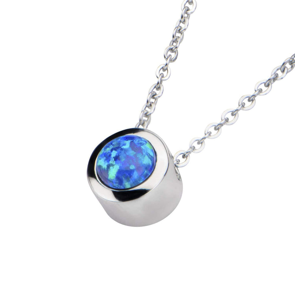 Silver Stainless Bezel Set Round Black Synthetic Opal Necklace Pendants