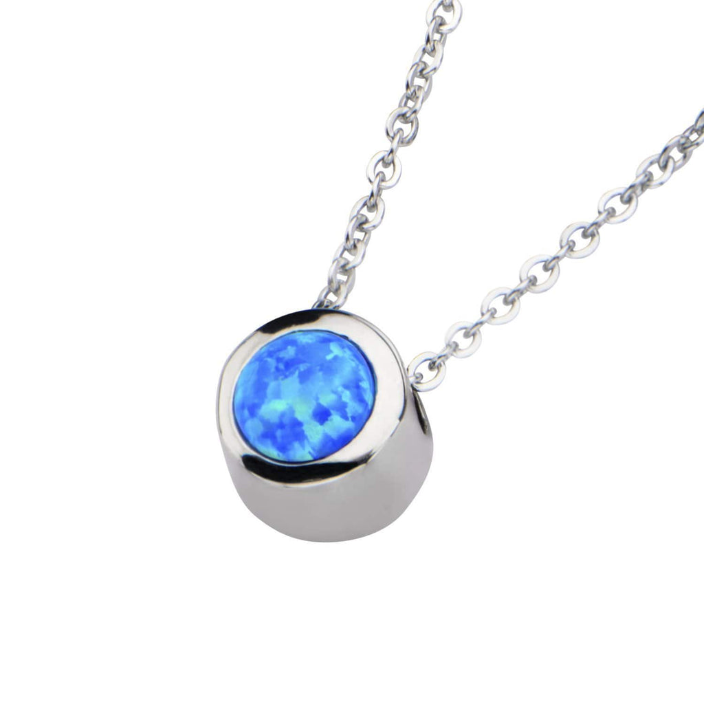Silver Stainless Bezel Set Round Blue Synthetic Opal Necklace Pendants