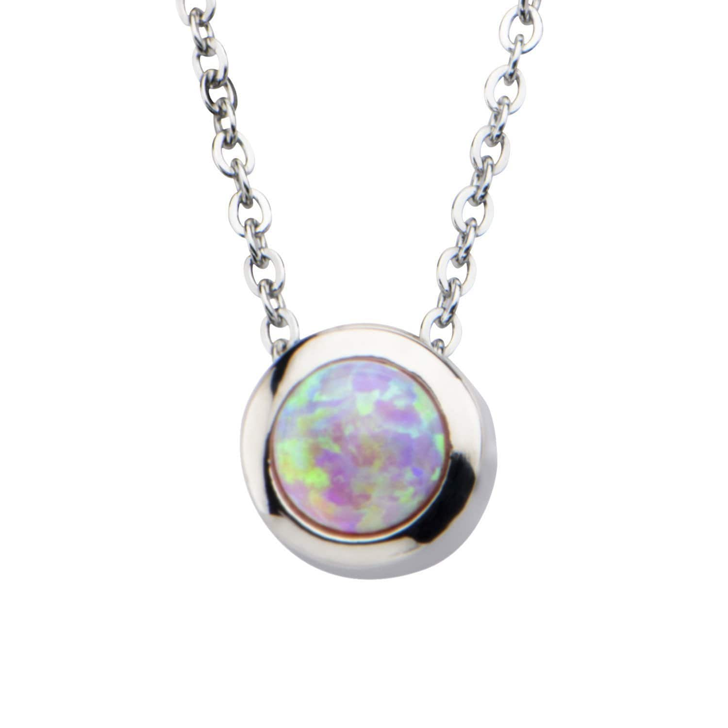 Silver Stainless Bezel Set Round Pink Synthetic Opal Necklace Pendants