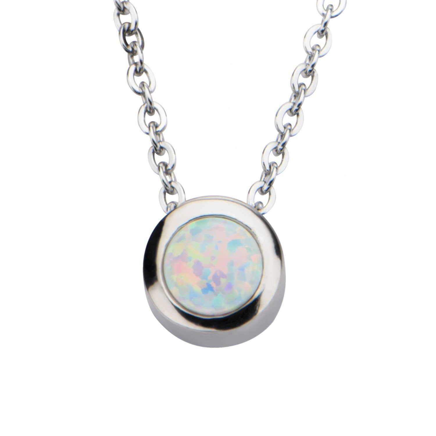 Silver Stainless Bezel Set Round White Synthetic Opal Necklace Pendants