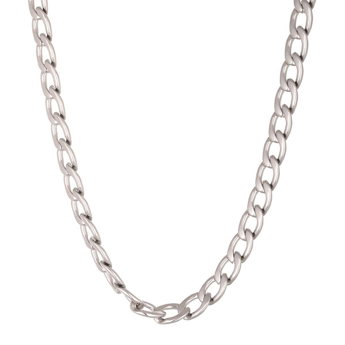Silver Stainless Steel 10 mm Round Curb Chain Chains 18 Inch