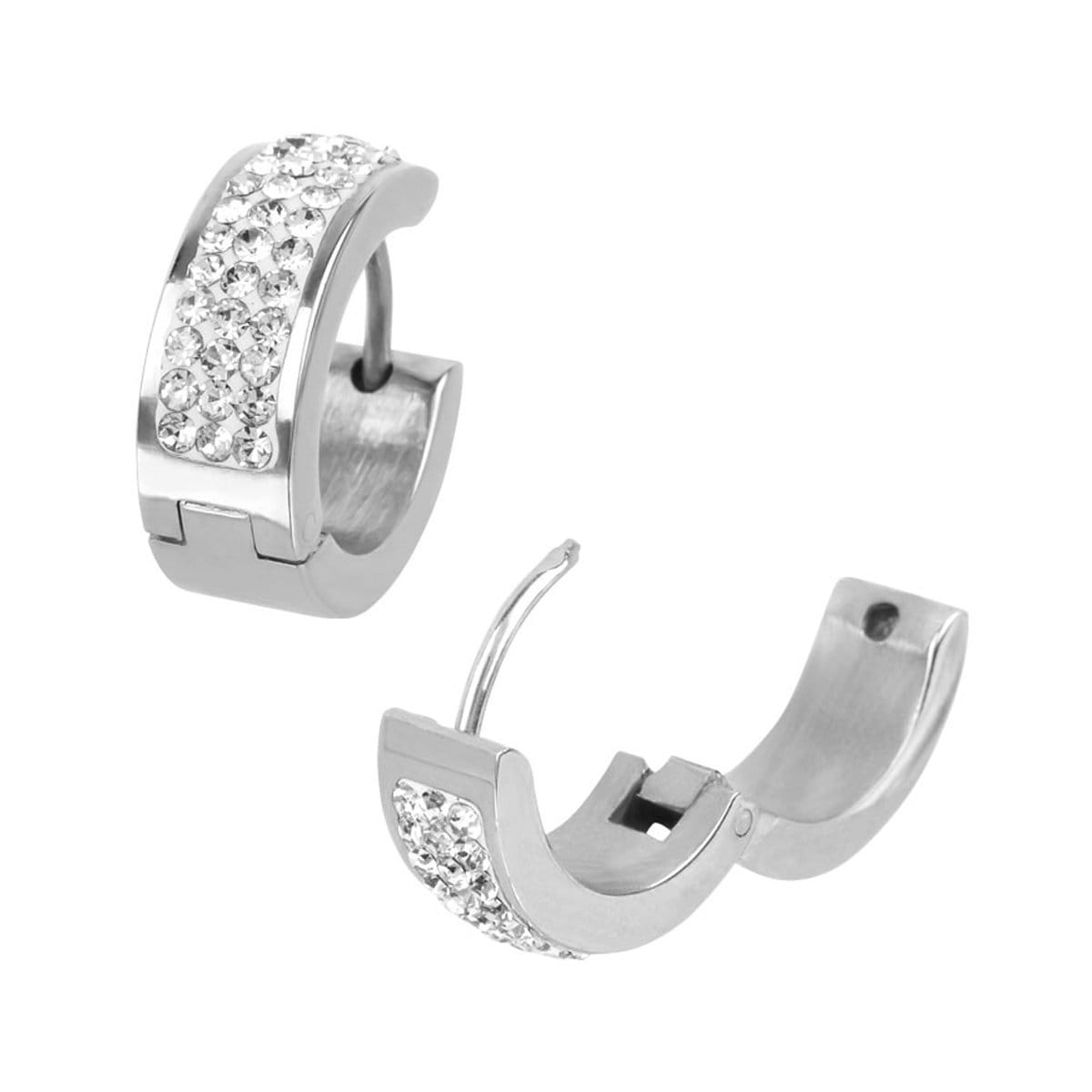 Silver Stainless Steel 17mm Triple Row White Crystal Huggies Earrings