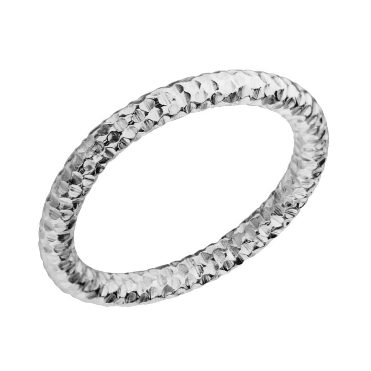 Silver Stainless Steel 2.5mm Hammered Wedding Band Rings