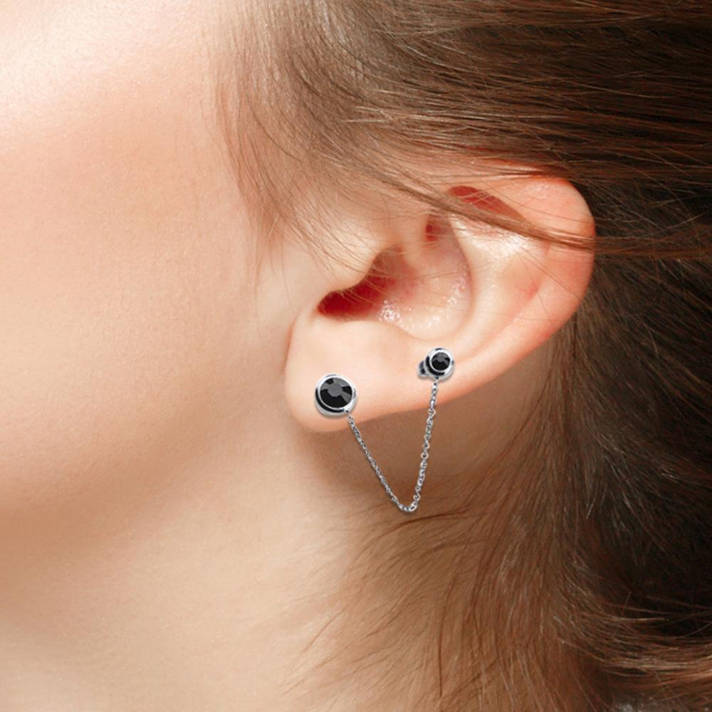 Silver Stainless Steel 2 Black Crystal Attached Chain Studs Earrings