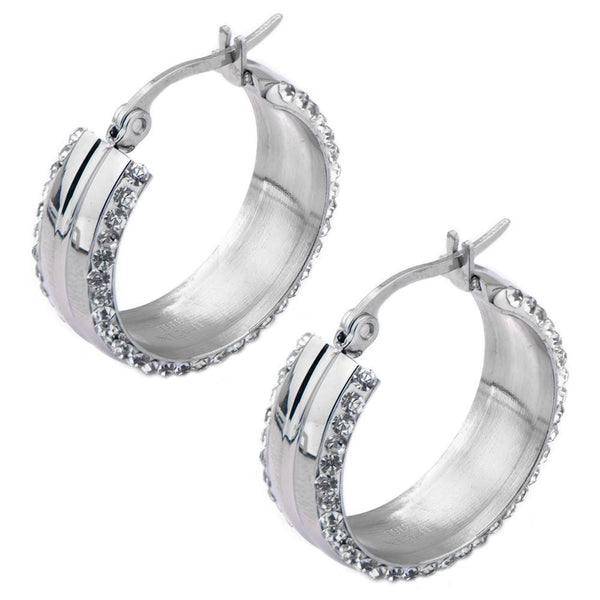 Silver Stainless Steel 24 mm Ferido Double-Side White Crystal Hoops Earrings