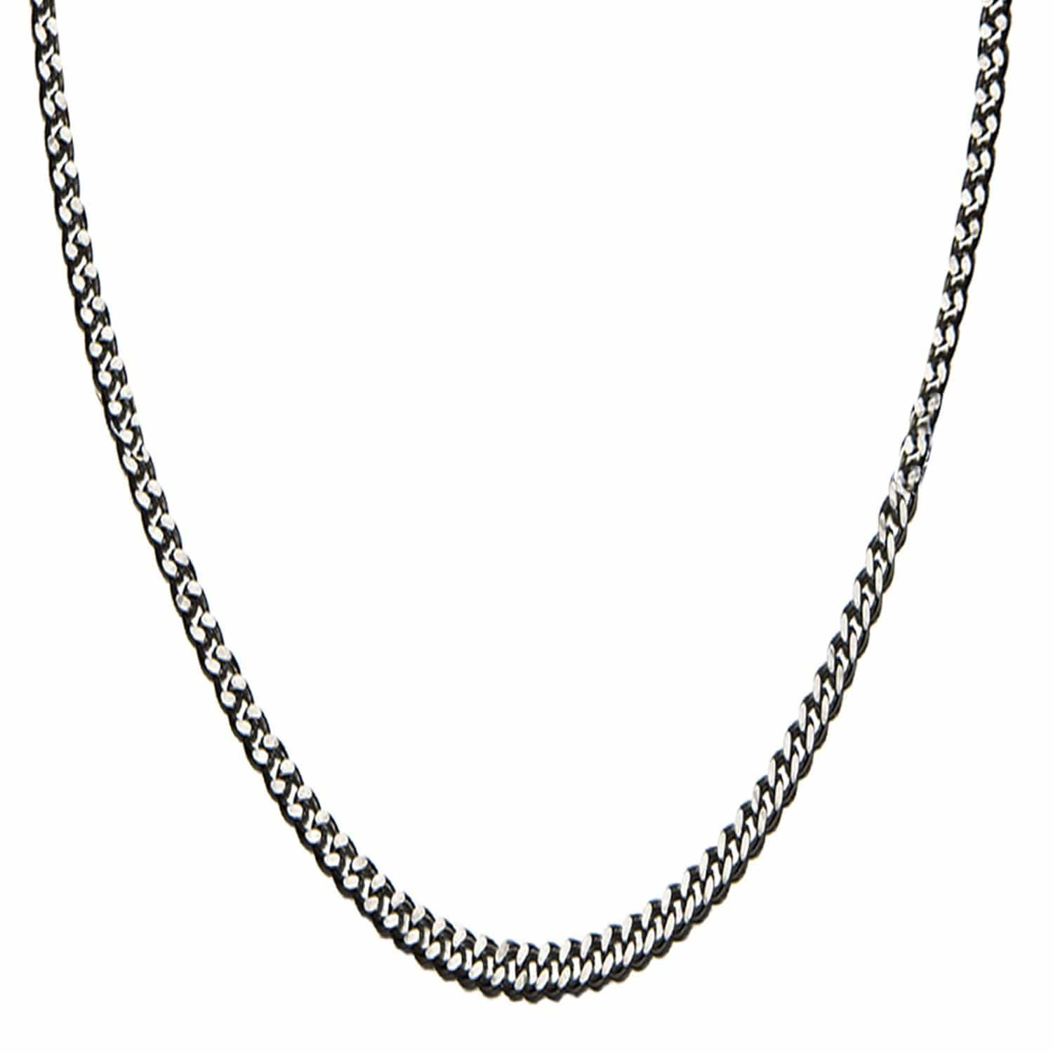 Silver Stainless Steel 3.5 mm Two-Face Diamond Cut Design Chain