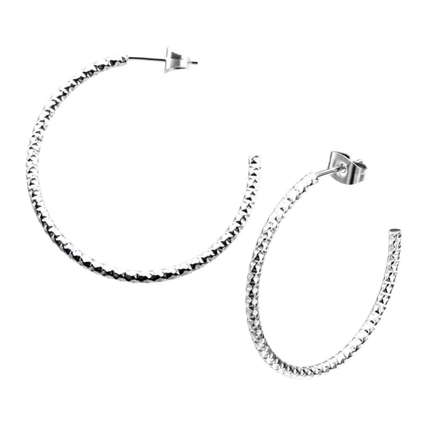 Silver Stainless Steel 33 mm Hammered Open Hoop Earrings Earrings