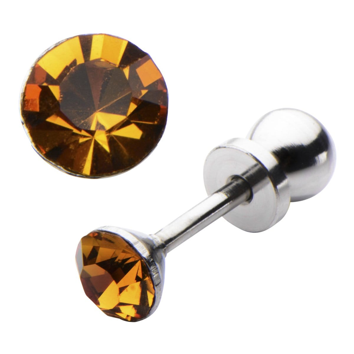 Silver Stainless Steel 4mm Citrine CZ Safety Back Ear Stud Earrings