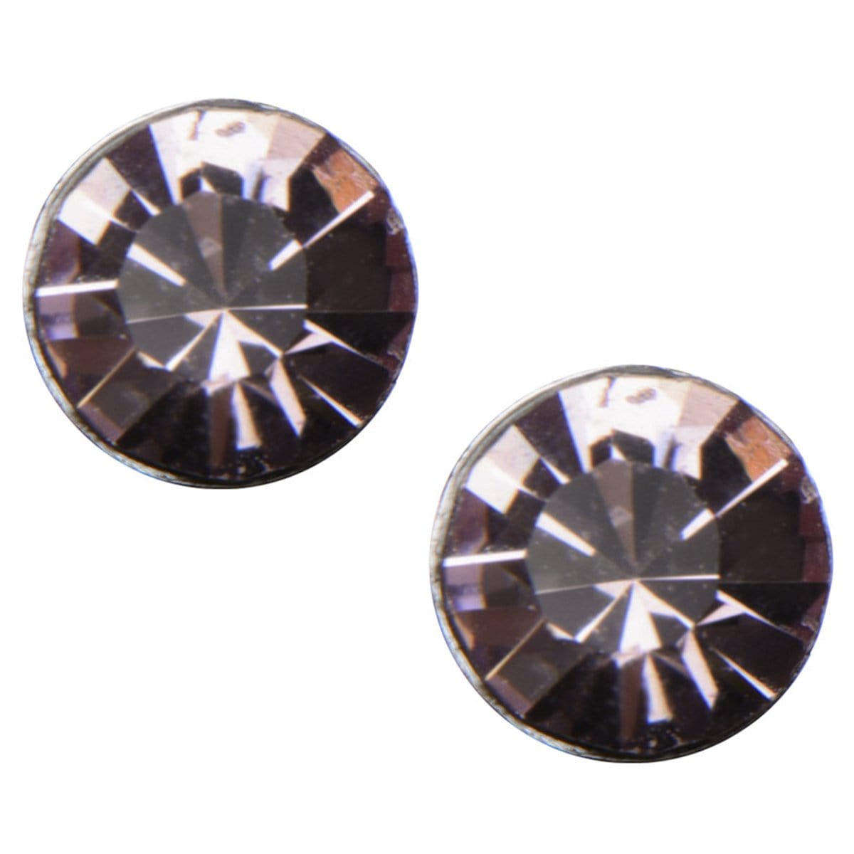 Silver Stainless Steel 4mm Lavender CZ Safety Back Ear Stud Earrings