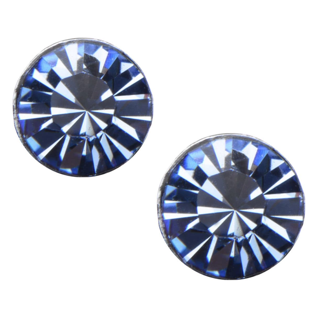 Silver Stainless Steel 4mm Light Blue CZ Safety Back Ear Stud