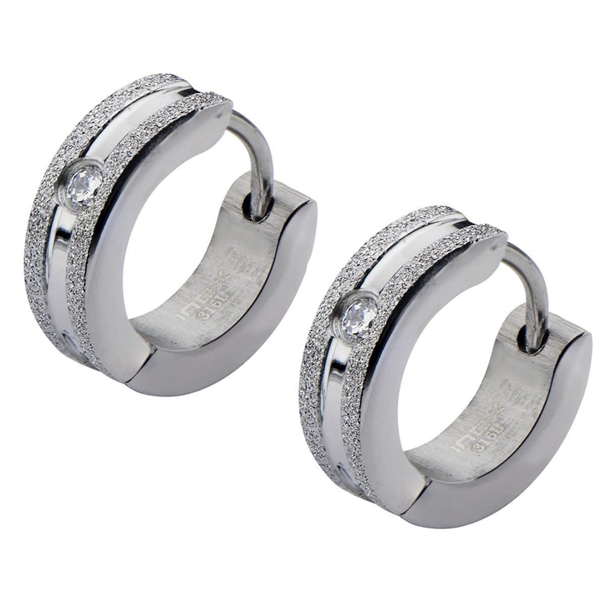 Silver Stainless Steel 4mm Sand Finished White Crystal Huggies Earrings
