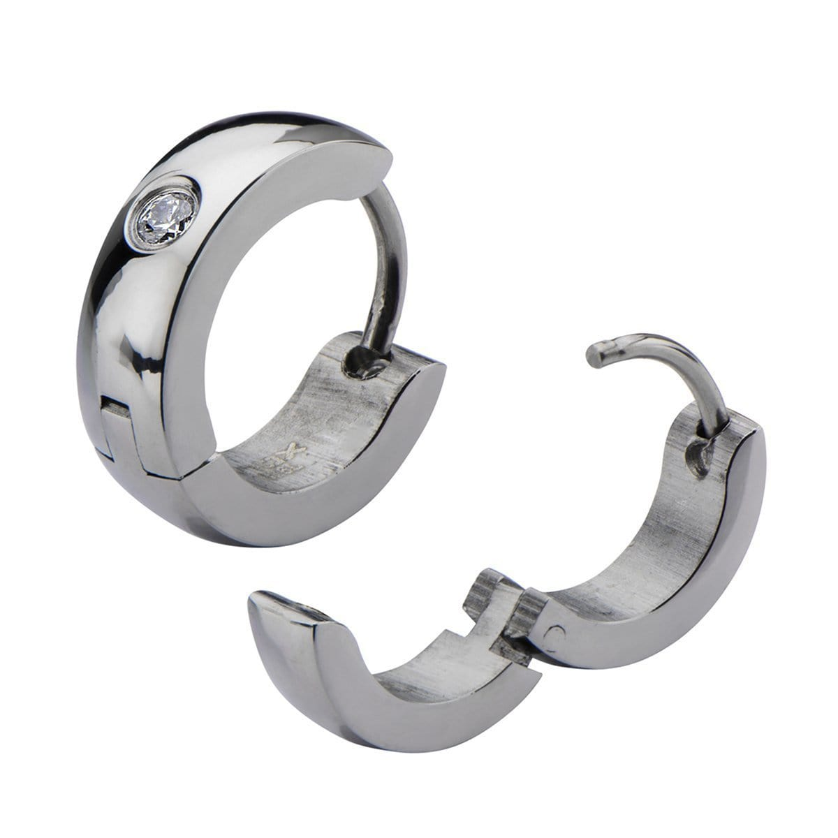 Silver Stainless Steel 4mm Small White Crystal Huggies Earrings
